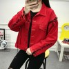 Real shot autumn cowboy jacket female 2017 new Korean version of loose tide short paragraph letters students thin coat 1831