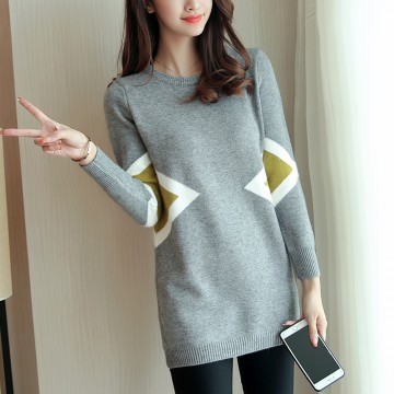 2017 autumn new women Korean version of the long section of the curling round neck knitted sweater women 603