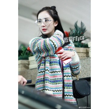 6006 # spring and summer Yang Mi Airport star with the full-chi-chun fight color long sweater big V-neck knitted cardigan