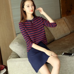 726  long - sleeved sweater with skirt two pieces