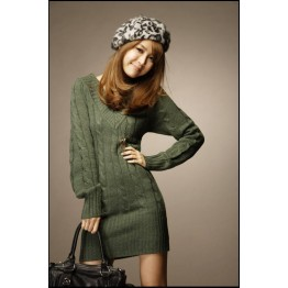 6489 Korean fashion twist braid V-neck long sweater