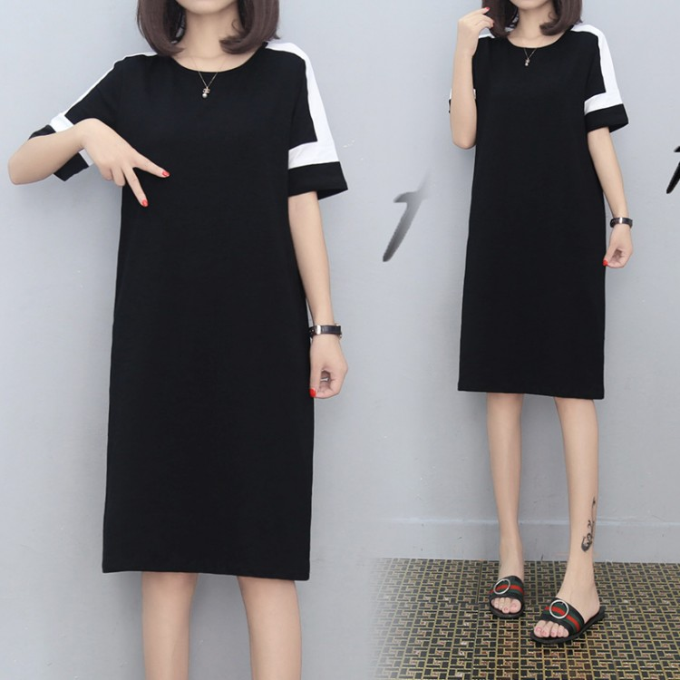 66e3593d22d European station summer new casual sports dress female long paragraph loose large  size solid color T