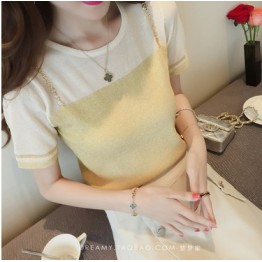 6501 round neck  bright ice silk shirt