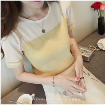 Summer new round neck collar head bright silk ice silk sweater women short sleeve false two pieces of T shirt was thin shirt shirt