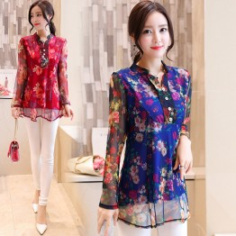 9325 Fall New Slim Long Sleeve Shirt Printed Chiffon Blouse