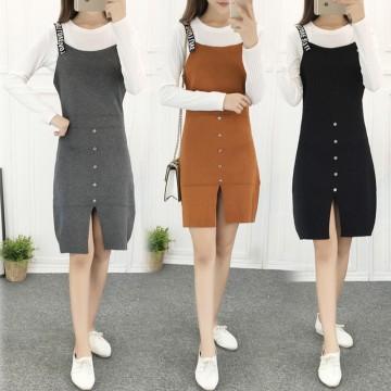 8615 new Korean fashion knitting letter worn knitting vest dress