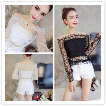 3889 # model real shot 2017 spring and summer new ladies sexy lace collar lace small shirt lace shirt