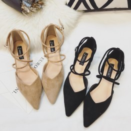 Women's sexy cross-belt pointed-toe low-heeled suede shoes