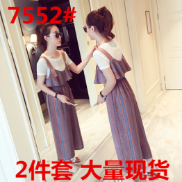 Large size women's summer new t-shirt with suspender pants
