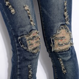 1558 autumn and winter  holes jeans women personality embroidery stretch pencil pants