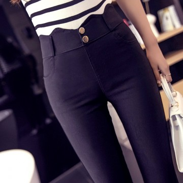 1812 official figure spring and autumn Korean version of the big thin stretch elastic wear leggings high waist pencil pants