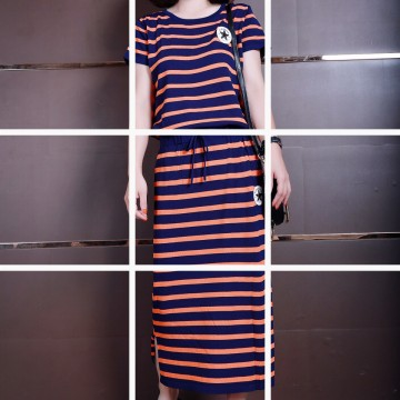 European station summer new European goods fashion ice silk knitted striped dress short sleeve two sets of skirt