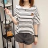 Real shot short - sleeved t - shirt female summer Korean version of loose black and white striped fat mm large size women 's clothing 200 pounds 3932