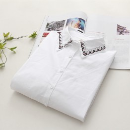 6902 loose long sleeves fresh flowers embroidered cotton shirt