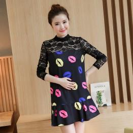 628 pregnant women fall new lace splicing dress
