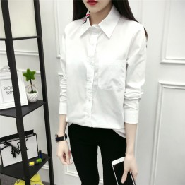 6500 preppy style white cotton shirt