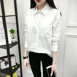6500 preppy style white cotton shirt