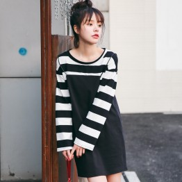 8930 stripes splicing fake two-piece dress