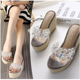 Summer new waterproof platform comfortable braided thick high-heeled slope with rhinestone transparent one word cooler female slippers
