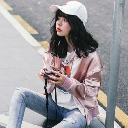 8951 # loose casual personality flashing powder baseball jacket