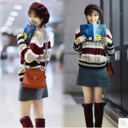 6491 Women's head loose students twist stripes sweater