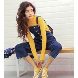(Real shot) new loose BF wind cowboy straps pants female students leisure wide leg Siamese pants 0212 #