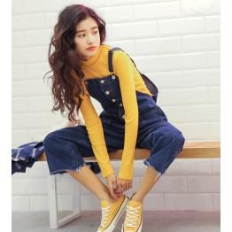 0212  leisure wide leg  suspender jeans