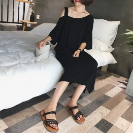 8678 off shoulder ice silk knit slip short-sleeved dress