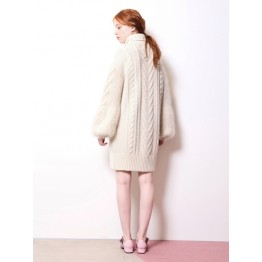 767 South Korea autumn and winter high collar thick knit sweater dress