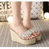 Platform comfortable rhinestone transparent wedge heel slippers