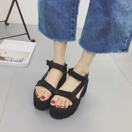 17 Summer New England Wind Velcro Muffler High-heeled Student Casual Rough Roman Shoes Sandals Black