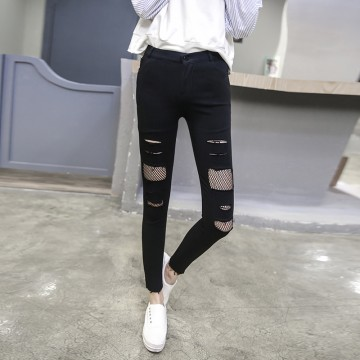 1673 real shot in the spring of the new outside wear elastic hole plus nine points underwear pants female Korean pencil pencil pants