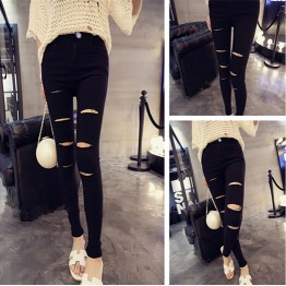 1835 cut holes high elastic leggings