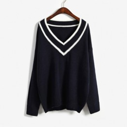 9812 big v collar loose sweater