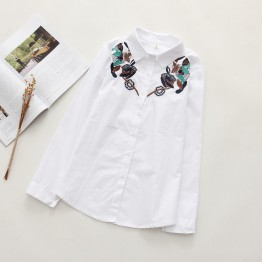 6899 loose long sleeves lotus flowers embroidered cotton shirt