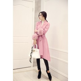 2017 autumn and winter new Korean version of the thin fox fur long woolen jacket cashmere jacket wool wool woolen coat