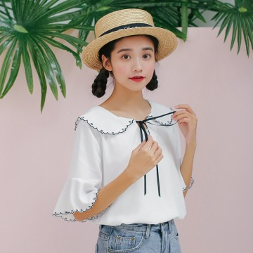 5377 new doll collar hood sleeve shirt bow tie shirt