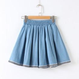 705 preppy style sweet half denim skirt