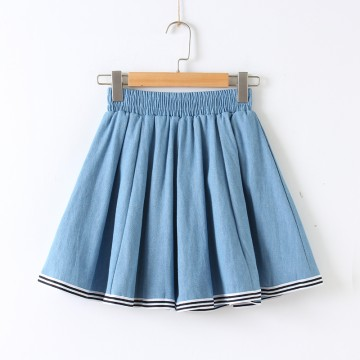 705 # four seasons wild college wind cowboy half skirt female students sweet a word skirt tight waist