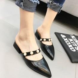 Summer low thick heel pearl rhinestone pointed-toe slipper