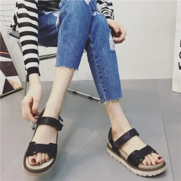 Thick heel flat casual Velcro Rome sandals