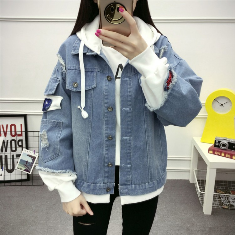 e9cf6c44ff40 Real students denim jacket female Korean version of the 2017 autumn ...