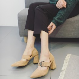 Spring and summer rough with a single shoes female pointed shallow mouth with the shoes Korean version of the new belt buckle suede high-heeled shoes