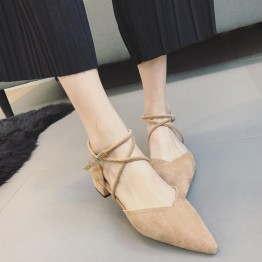 Korean version of the new women's shoes sexy cross-belt pointed flat bottom with low-heeled suede shoes