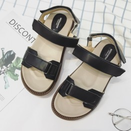 British wind loose cake thick sandals female summer 17 new flat casual Velcro with students in Rome sandals