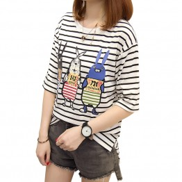 3935 striped short-sleeved cartoon print t-shirt