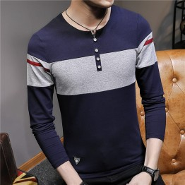 817 Autumn men's long sleeves cotton v-neck puzzle knit t-shirt
