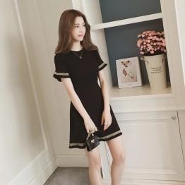 5827 lotus leaf short-sleeved knit dress