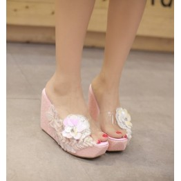 Summer new white silver pink thick slope with pearl diamond diamond lace high with the word cool slippers female