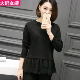 3015 # real shot autumn new large size women's long-sleeved T-shirt short section plus fertilizer to increase round neck shirt